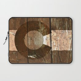 Rustic brown wooden Colorado flag Laptop Sleeve