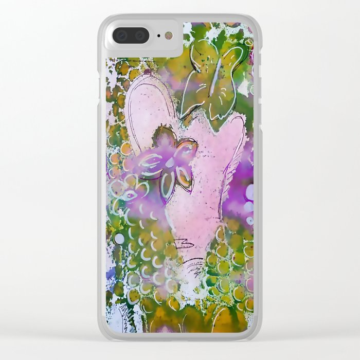 Lavender Hearts and Flowers Clear iPhone Case
