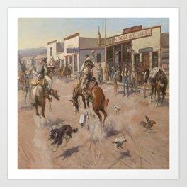 C.M. Russell Vintage Western Quiet Day In Utica Art Print