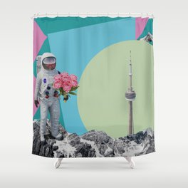 The astronaut and the tower Shower Curtain