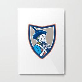 American Patriot Musket Side Shield Retro Metal Print