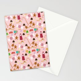 Christmas Sweeties Candies, Peppermints, Candy Canes and Chocolates on Pink Stationery Cards