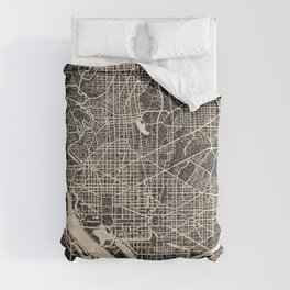 WASHINGTON map District of columbia Ink lines 2 Comforters