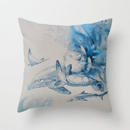 Gulf Stream - Whale, Sea Turtle, Shark Throw Pillow