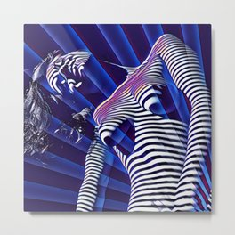 8041s-KMA Blue Nude Young Woman Striped with Light and Radiating Power Metal Print