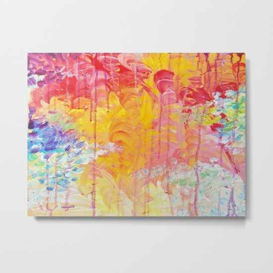 SUN SHOWERS - Beautiful Pastel Coloful Rain Clouds Bright Sky Abstract Acrylic Painting Metal Print