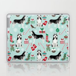 Siberian Husky christmas festive holiday gifts for husky owners by pet friendly Laptop & iPad Skin