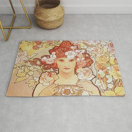 Rose by Alphonse Mucha 1897 // Vintage Girl with Red Hair Floral Love Design Rug
