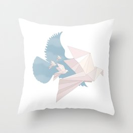 Into the Fold: Origami Pigeons Throw Pillow
