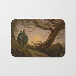 Two Men Contemplating the Moon by Caspar David Friedrich Bath Mat