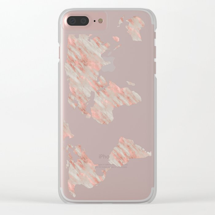 World Map Marble Rose Gold Clear iPhone Case