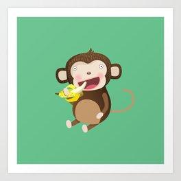 Monkeys love bananas Art Print