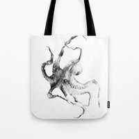 creepy Tote Bags featuring Octopus by Alexis Marcou