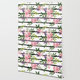Pink roses bouquets with greenery on the striped background Wallpaper