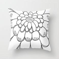 UMA FLOR white Throw Pillow