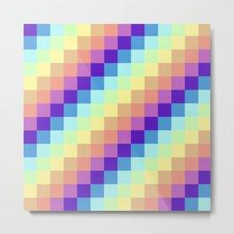 Diagonal Pixel Colorful Metal Print