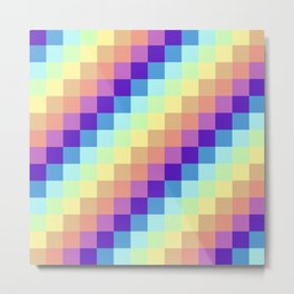 Diagonal Pixel Colorful Metal Print