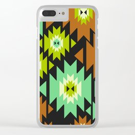Ethnic shapes in green and brown Clear iPhone Case