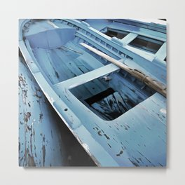 Blue Painted Rustic Wooden Fishing Boats Metal Print