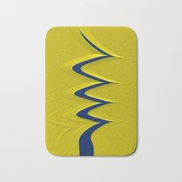 RISEN navy blue stripe on solid yellow modern design Bath Mat
