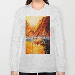 Golden sunset at the mountains Long Sleeve T-shirt