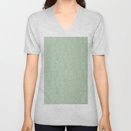 Simply Mid-Century in White Gold Sands and Pastel Cactus Green Unisex V-Neck