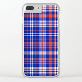 Florida University silhouette orange and blue pattern sports football college gators gator fan Clear iPhone Case