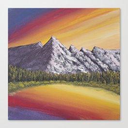 Mountain Lake at Sunset Acrylic Painting Canvas Print