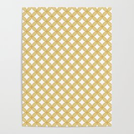 Modern gold yellow white geometric quatrefoil pattern Poster