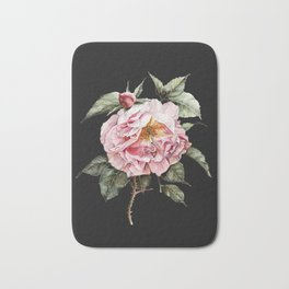 Wilting Pink Rose Watercolor on Charcoal Black Bath Mat