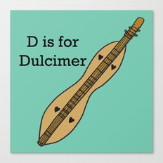 D is for Dulcimer, typed Canvas Print