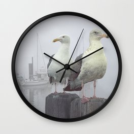 Two Sea Gulls in a Misty Harbor with Sailboats and Fishing Boats on Vancouver Island Wall Clock