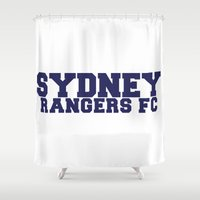 college Shower Curtains featuring College - Blue by Sydney Rangers FC