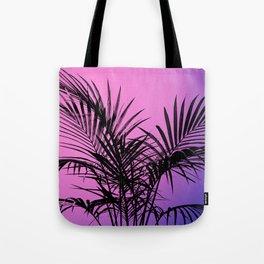 Palm tree in black with purplish gradient Tote Bag