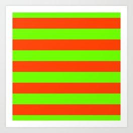 Bright Neon Green and Orange Horizontal Cabana Tent Stripes Art Print