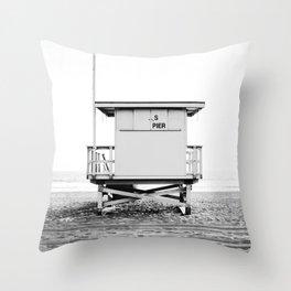 Beach Photography black and white print Throw Pillow