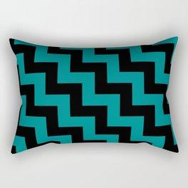 Black and Teal Green Steps LTR Rectangular Pillow
