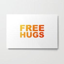 Free Hugs Typography - Minimal - Graphic Design Bright Yellow and Orange Gradient Lettering Metal Print