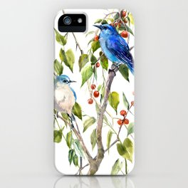 Mountain Bluebirds and Berries iPhone Case