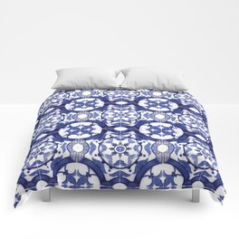 Portuguese Tiles Azulejos Blue and White Pattern Comforters