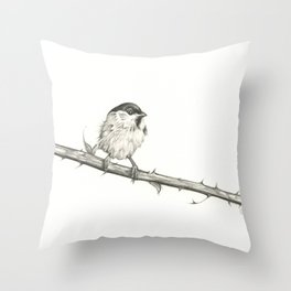 Milk-Warm Mewling of Chickadees Throw Pillow