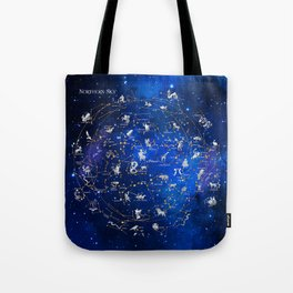 Northern Sky Constellations Map Tote Bag