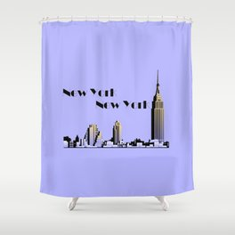 New York New York skyline retro 1930s style Shower Curtain