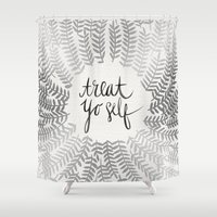 treat yo self Shower Curtains featuring Treat Yo Self – Silver by Cat Coquillette