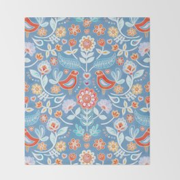 Happy Folk Summer Floral on Light Blue Throw Blanket