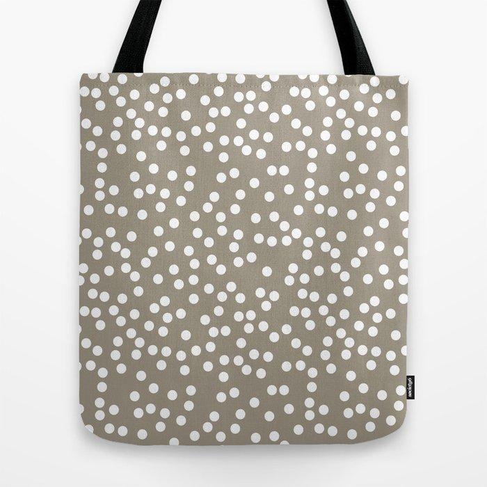 4491d2fd83 Dark Warm Gray and White Polka Dot Pattern Tote Bag by itsjensworld ...