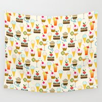 dessert Wall Tapestries featuring Dessert by Valendji