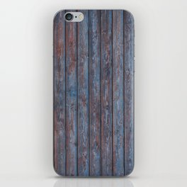 Vintage Wood background - photo wallpaper blue iPhone Skin