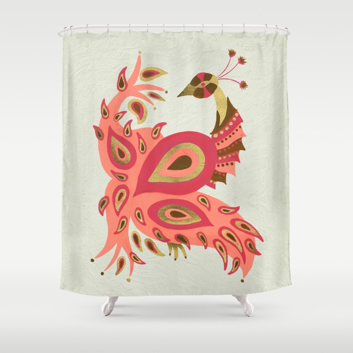 Peacock – Rose & Gold Shower Curtain