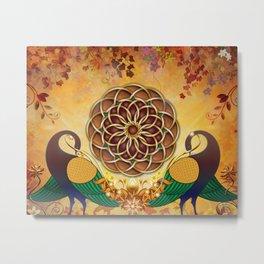 Autumn Serenade (Mandala of the Two Peacocks) Metal Print